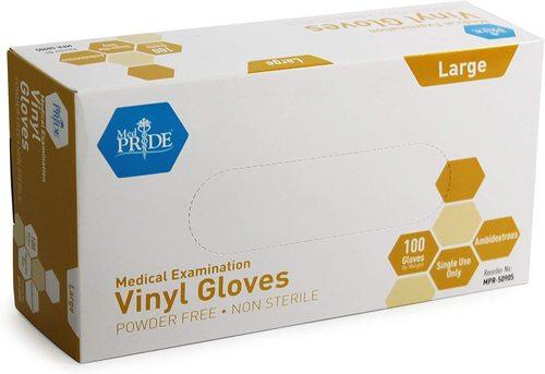 Medical Vinyl Examination Gloves (Large, 100-Count)