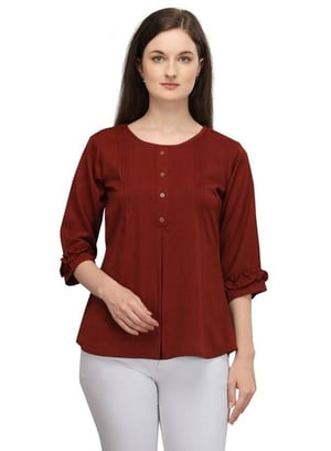 Prettify Women'S Polyester Solid Regular Fit Western Top