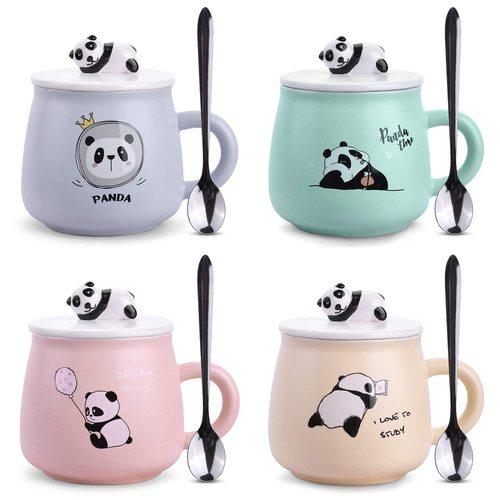 Panda Printed Coffee Mug with Spoon