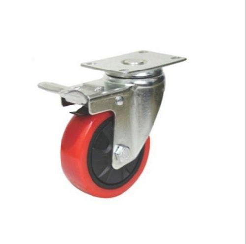 110 Mm Red Pu Plastic Swivel Castor Wheel