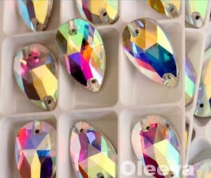 Crystal Ab Droplet Shape Sew On Rhinestones For Clothing Accessories