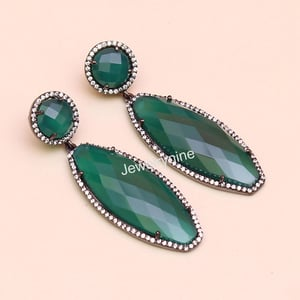 Green Chalcedony With Cubic Zirconia Black Rhodium Sterling Silver Pave Setting Earring