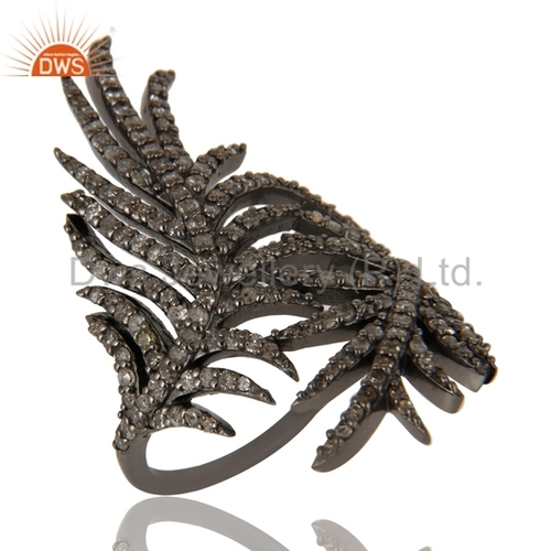 Designer Black Rhodium Plated 925 Sterling Silver Pave Diamond Ring