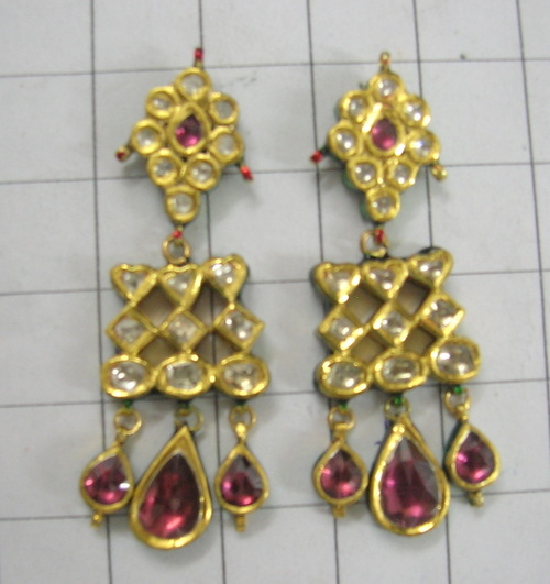 Kundan Antique Diamond Polki Earring - Silver Art India, No  15