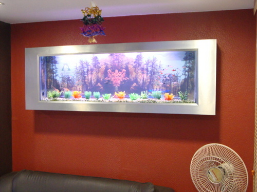 Slim Wall Mounted Photo Frame Aquarium Design