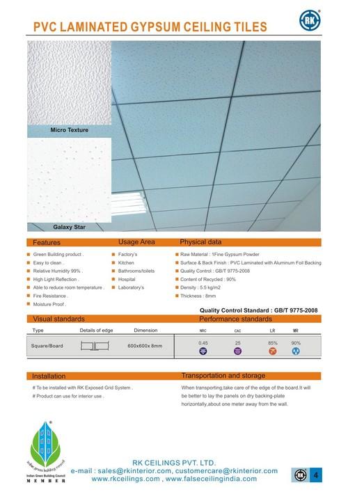 Pvc Gypsum Laminated Tiles