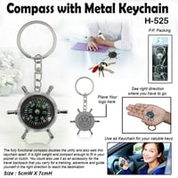 Silver Metal Compass with Keychain