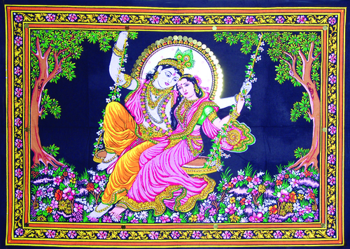 Radha Krishna On Swing Lovely Poster