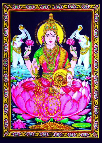 Indian God Diwali Pooja Laxmi Painting Poster With Framed Size: 40  X 30 Inch