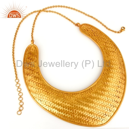 Handmade Wire Mesh Gold Plated Brass Designer Traditional Necklace