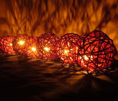 20 Brown Rattan Ball String Party, Patio, Wedding Lights