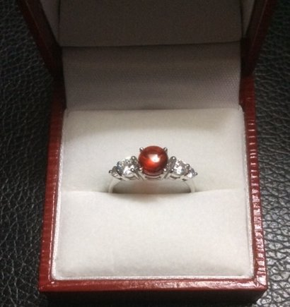 Silver Ring With Red Naga Gems