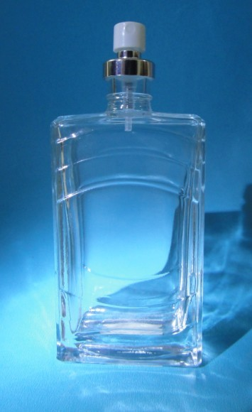 Square Empty Clear Glass Perfumer Bottles With Pump