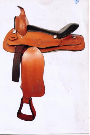 Western Saddle With Embossing And Softy Leather