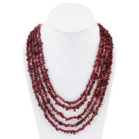 Fashionable 5 Line Maroon Garnet Stones Necklace