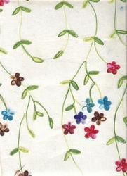 Multicolor Floral Embroidery Handmade Paper