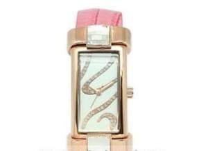 Rose Gold Lady Watch With Pink Leather Band