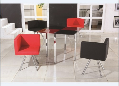 Modern Red And Black Glass Dining Table And Chairs At Best Price In Langfang Hebei Bazhou Future Furniture Co Ltd