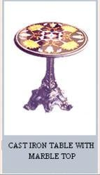 Cast Iron Table With Marble Top