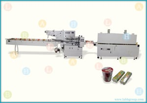 Combined Packing Line with Flow Pack Machine and Shrink Wrapping Machine