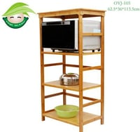 4-Tier Bamboo Microwave Oven Storage Rack