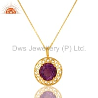 Gold Plated 925 Silver Amethyst Gesmstone Pendant With Chain
