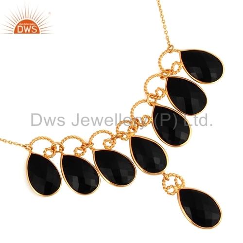 Natural Black Onyx Gemstone Handmade Necklace