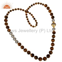 Natural Tiger Eye Gemstone Beads Gold Plated Brass Necklace Jewelry