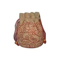 Jute embroidery Pouch Bag