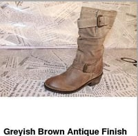 Greyish Brown Antique Finish Boot