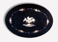 Black Marble Inlay Oval Table Top