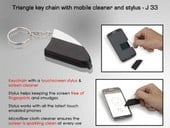 Triangle Key Chain with Mobile Cleaner