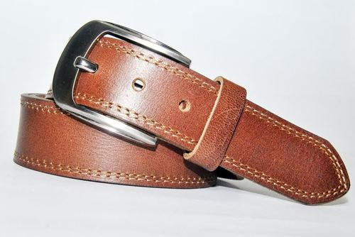 Casual Leather Belt with Natural Full Grain