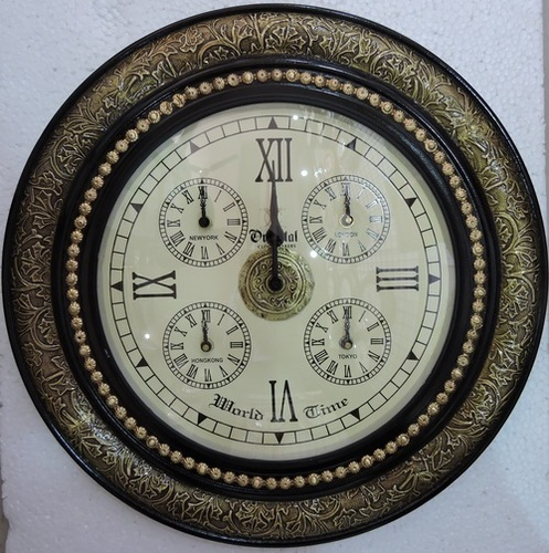 Antique Design Brass Fitted World Time Wooden Wall Clocks