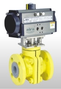 Ptfe Lined Ball Valve With Pneumatic Rotary Actuator