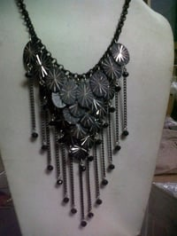 Black Metal And Chain Necklace