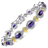Amethyst .925 Sterling Silver Two Tone Plated Bracelet