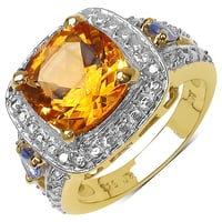 Citrine And Tanzanite 14K Yellow Gold Plated .925 Sterling Silver Ring