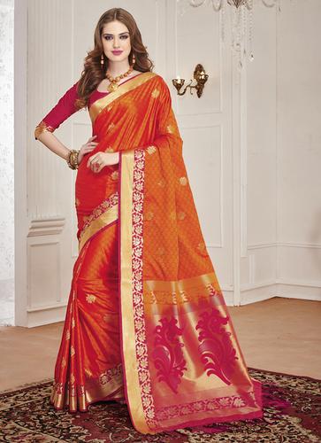 a28f96acfc Meghdoot Orange And Pink Colour Art Silk Woven Sarees in Kolkata ...