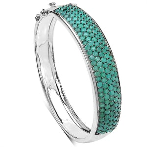 10.29CTW Emerald .925 Sterling Silver Bangle