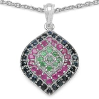 Genuine Ruby, Blue Sapphire & Emerald .925 Sterling Silver Pendant