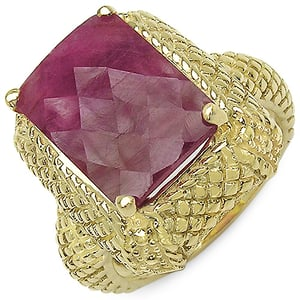 Dyed Ruby .925 Sterling Silver Gold Plated Ring