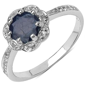 Genuine Blue Sapphire And White Topaz 925 Sterling Silver Ring