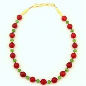 Arc Maroon and Blue Jade Necklace