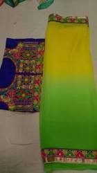 Fancy Chiffon Saree With Embroidered Work Blouses