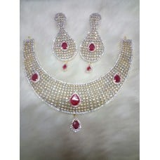 Alloy Jawel Necklace With Red Diamond
