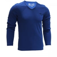 Blue Color V-Neck Stylish Solid Full Sleeves T-shirt