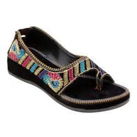 Women'S Embroidery Leather Slipper