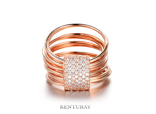 925 Sterling Silver, Plating 18K Gold, Cubic Zirconia Bangle
