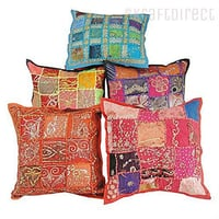 Tie Dye Floral Embroidered Patchwork Pillow covers